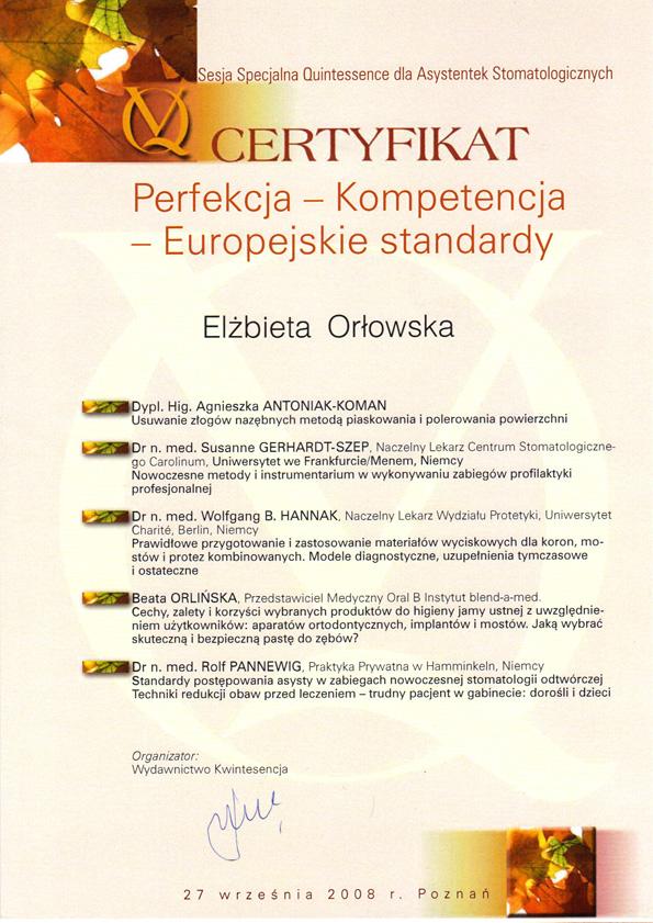 Certyfikat Elżbieta Orłowska
