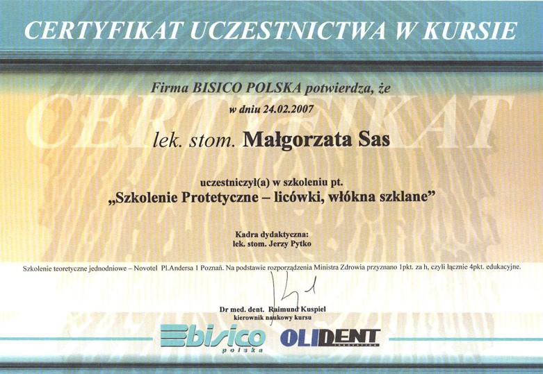 Certyfikat Małgorzata Sas